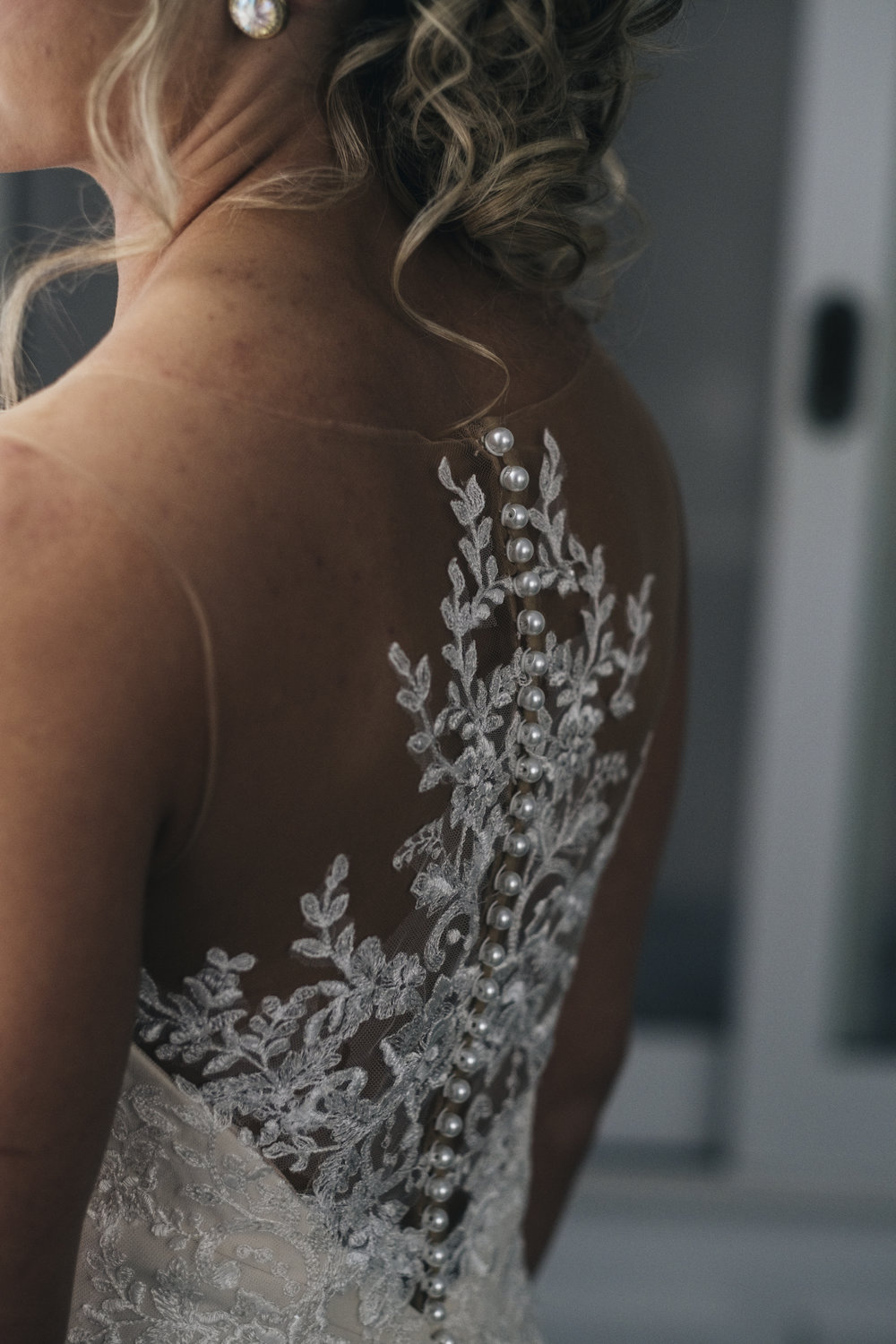Back of Wedding Dress with Lace and Beads in Toledo Ohio