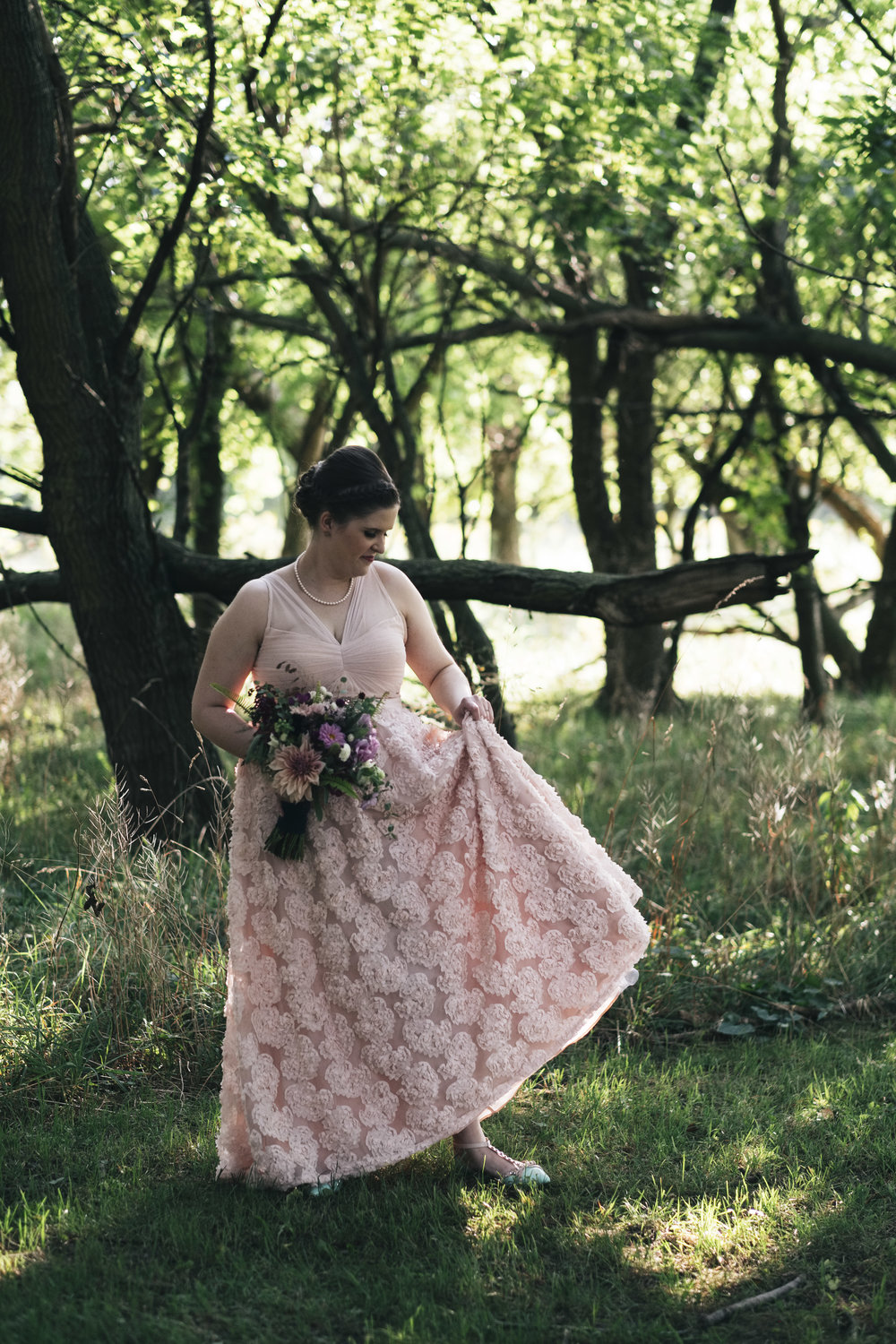 Pink Lace Wedding Dress in Toledo Ohio with Bride and Wedding Photographers