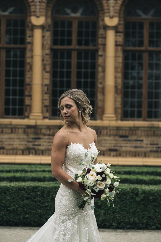 Bride on Wedding Day Poses for Toledo Ohio Wedding Photographers