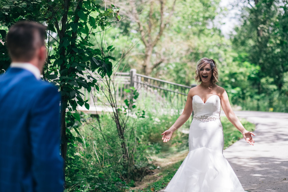 Bride Sees Groom for the First Time on Wedding Day with Toledo Ohio Wedding Photographers