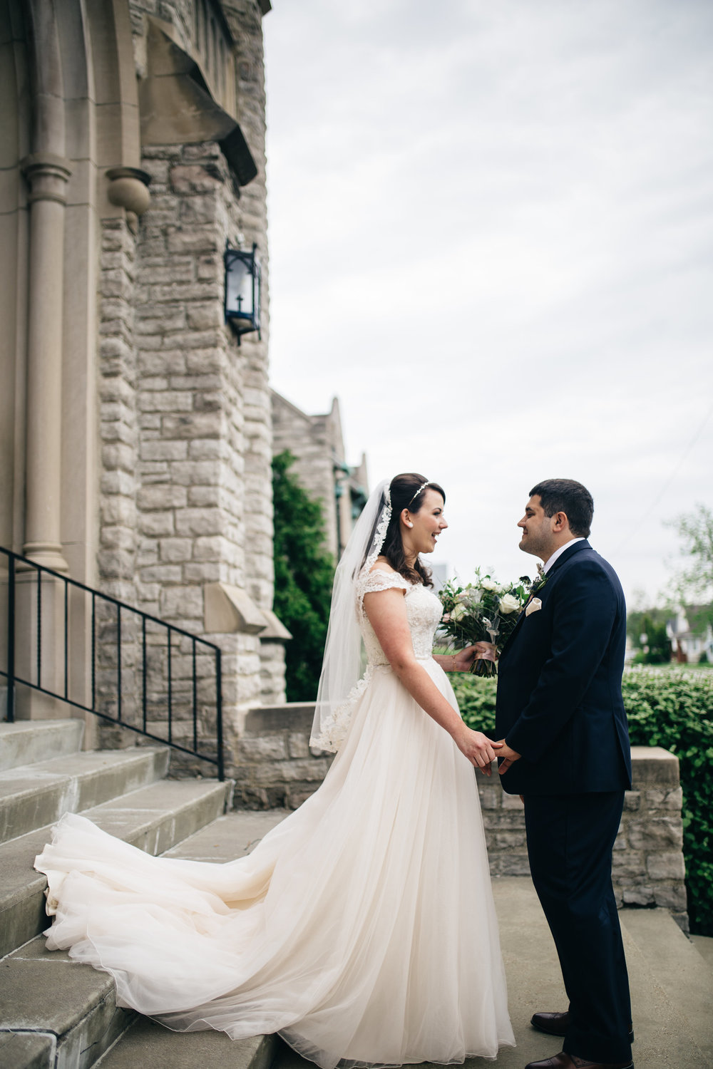 Couple from Toledo Share First Look on Wedding Day with Photographers from Northwest Ohio