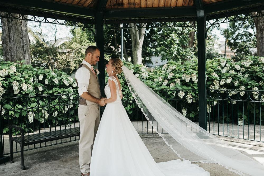 Bride and Groom in Toledo Ohio on Wedding Day with Wedding Photographers