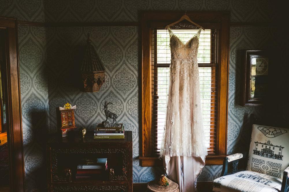 Toledo Wedding Photographers Capture Image of Bride's Dress on Wedding Day in Milwaukee Wisconsin