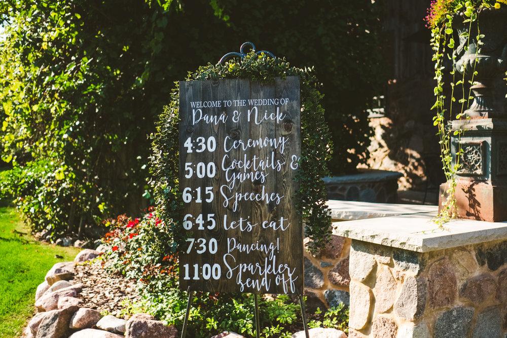 Wedding sign alternative at outdoor wedding in Milwaukee, Wisconsin.