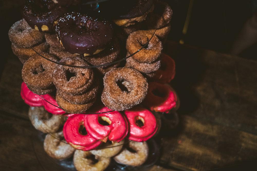 Donuts at wedding reception at the Farm at Dover.