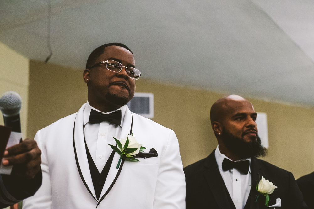 Groom Awaits Bride on Wedding Day at Ceremony with Toledo Ohio Wedding Photographers