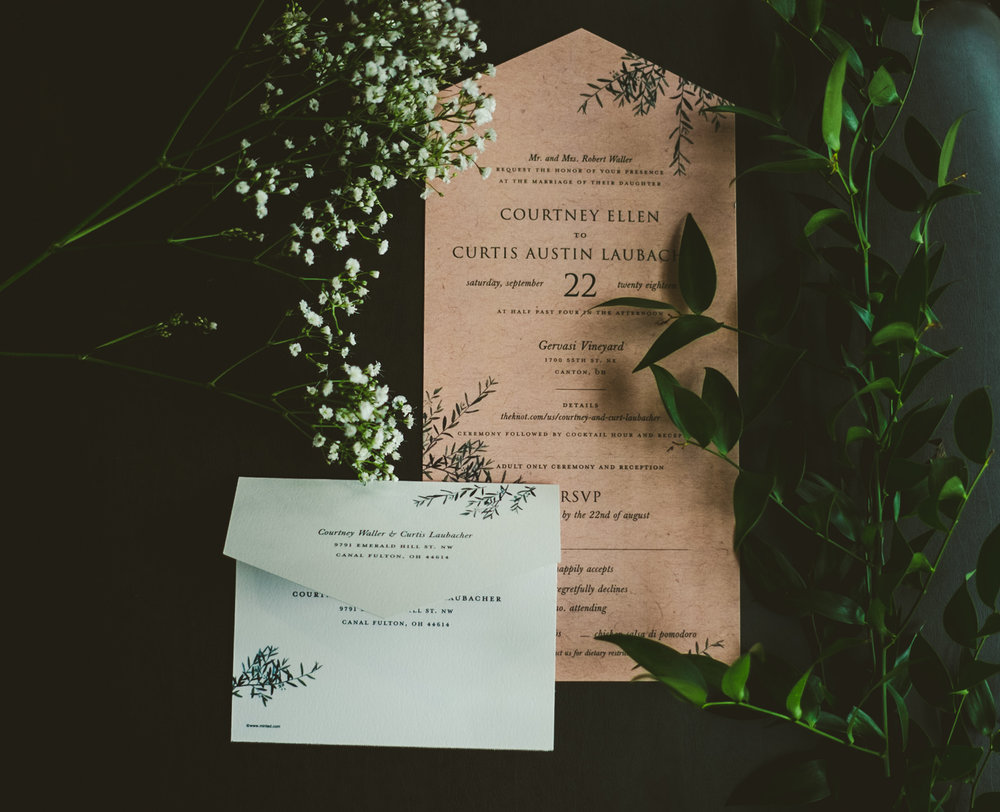 Invitation Suite for Canton Ohio Couple at Gervasi Vineyard with Toledo Ohio Wedding Photographers