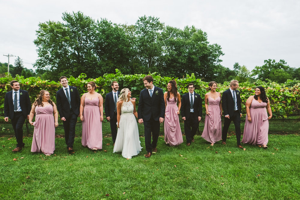 Cleveland Wedding Photographers at Gervasi Vineyard with Bridal Party before Outdoor Wedding Ceremony