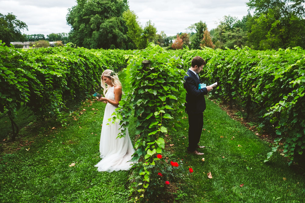Cleveland Ohio Wedding Photographers with Bride and Groom at Gervasi Vineyard on Wedding Day