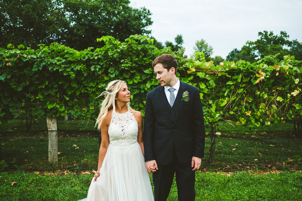 Bride and Groom at Gervasi Vineyard in Cleveland Ohio with Toledo Wedding Photographers