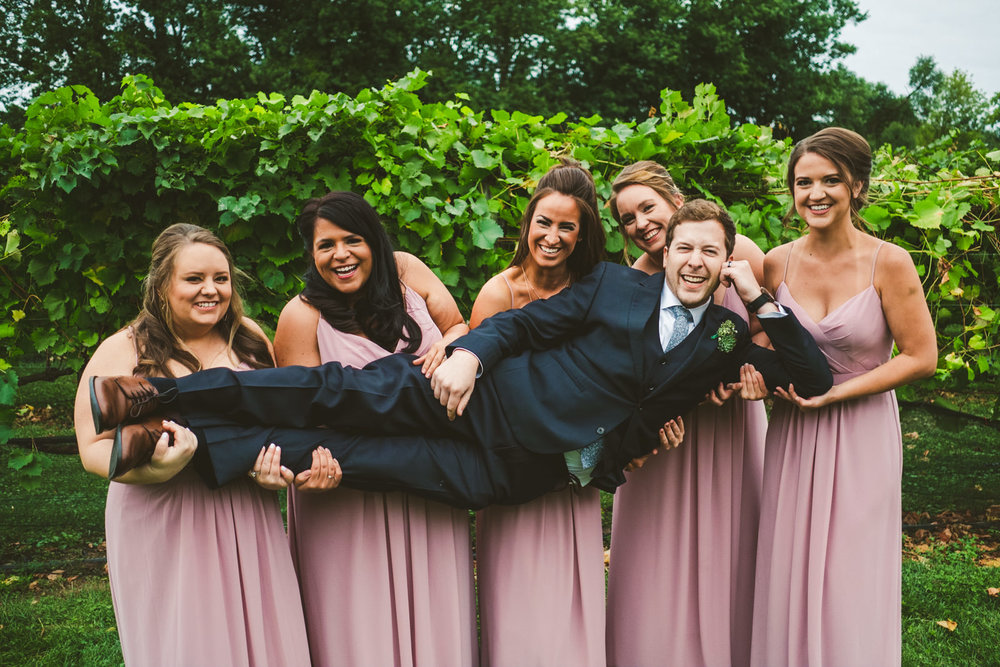 Bridal Party and Cleveland Ohio Wedding Photographers at Gervasi Vineyard for Outdoor Wedding