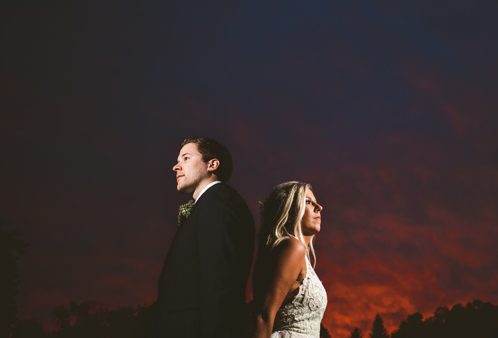 Cleveland Ohio Wedding Photographers at Gervasi Vineyard for Wedding with Toledo Couple at Sunset