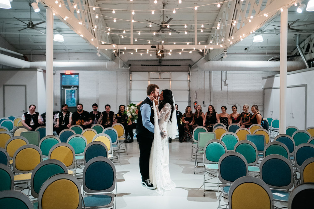 Bride and Groom at Ceremony in Ypsilanti Michigan with Ohio Wedding and Destination Photographers
