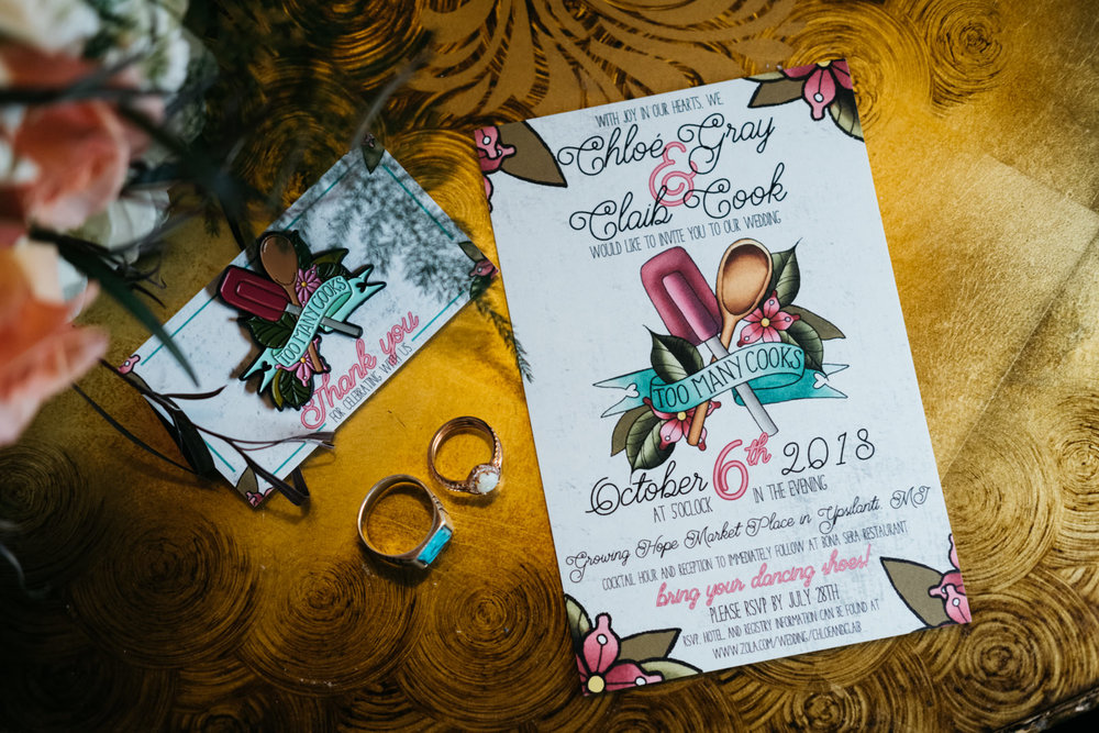 Invitation Suite for Ypsilanti Couple with Toledo Ohio Wedding Photographers in Depot Town Michigan