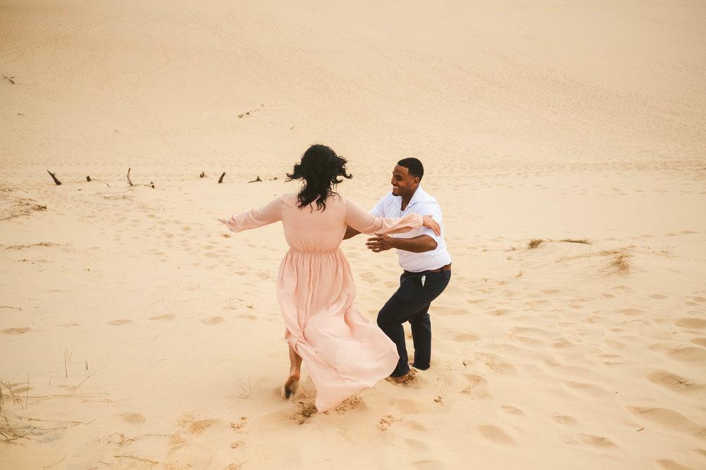 Toledo Ohio Wedding Photographers at Silver Lake Sand Dunes for Engagement Session