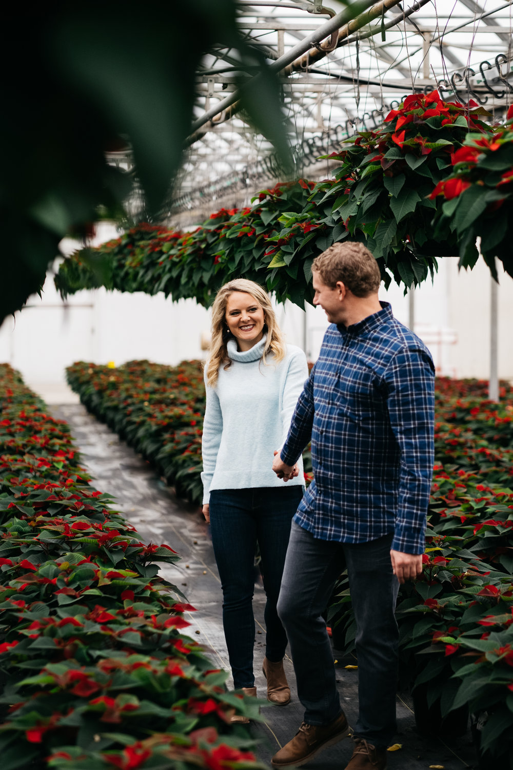 Indoor Greenhouse Engagement Session with Toledo Traveling Wedding Photographers