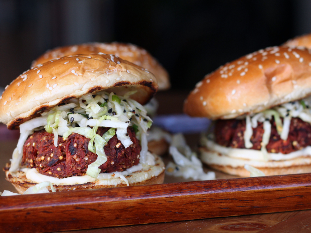 Veggie Burgers with Sesame Cole Slaw