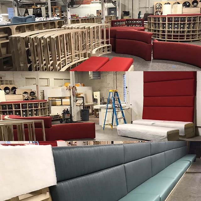 Miles of custom seating for the University of Cincinnati Lindner School of Business! Coming soon! #universityofcincinnati #gobearcats #interiordesign #interiordesigner #customseating #coolseating#cincinnati #madeincincinnati #coolseating #seating