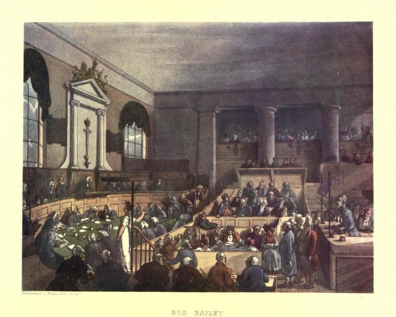 The Old Bailey, from Ackermann's Microcosm of London.