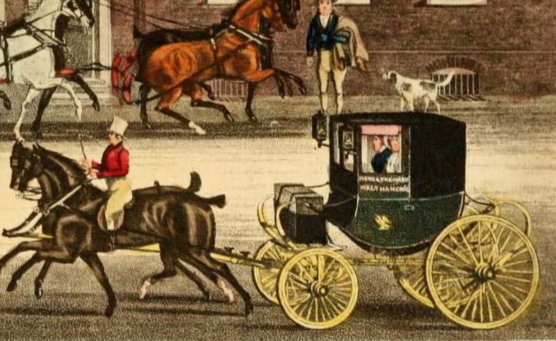 "Detail from Pollard,    The Mail Changing Horses at ""The Falcon"" at Walthamstowe   , image from  The Autobiography of a Stage Coachman , courtesy Archive.org"