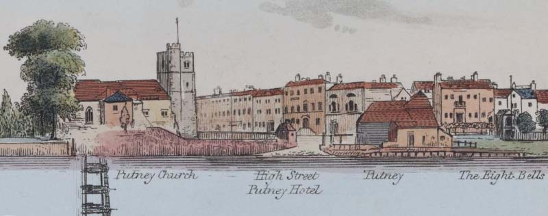 View of Putney in 1829: Image from Inglis and Sanders,    Panorama of the Thames