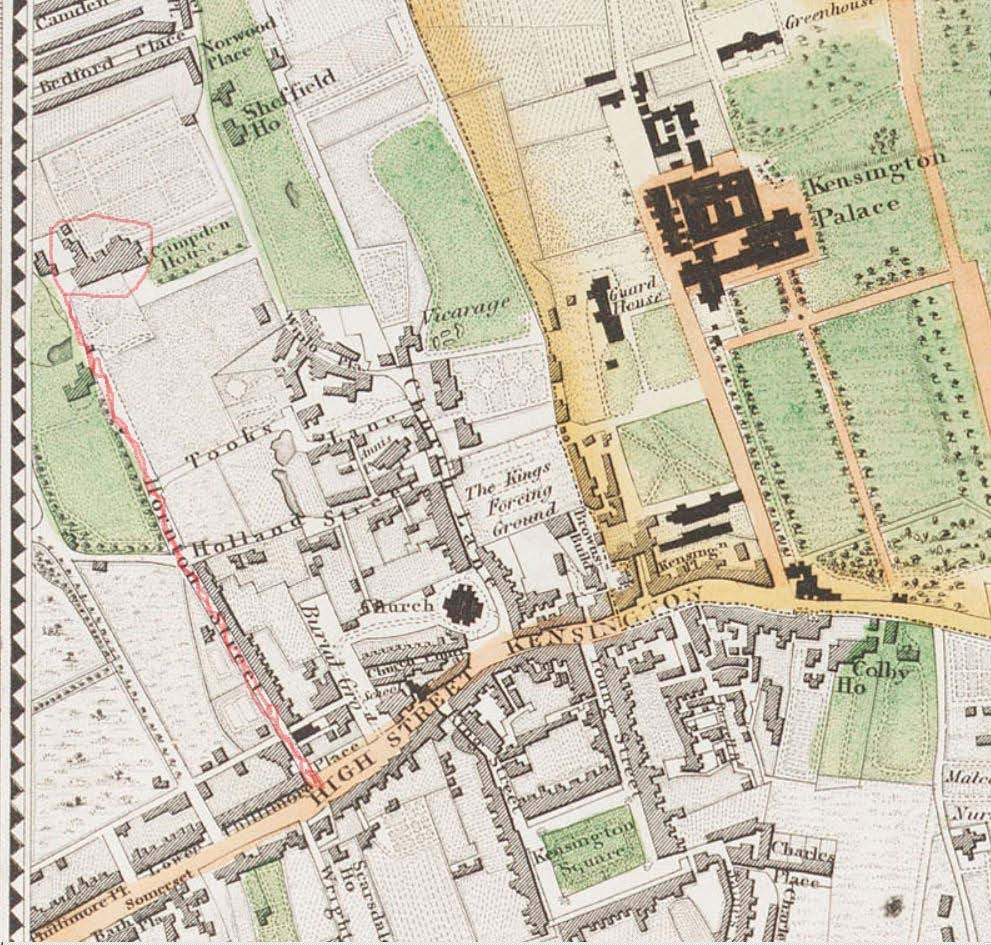 Greenwood Map of Kensington 1830. Red line is Olympia's and Ripley's route from Newland House (Campden House)