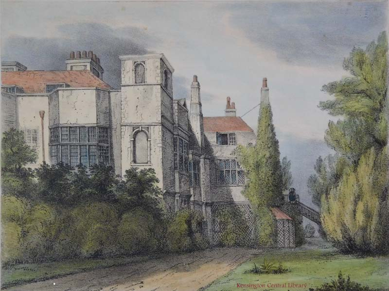 Campden House c. 1860, south-east view from the garden. Coloured litho by Edwin Smith.
