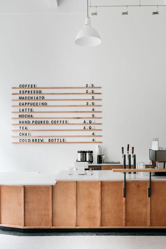 Este é o café Passenger, localizado em Lancaster nos EUA. Como não adorar esse painel com o menu? Para ver mais clique aqui.
