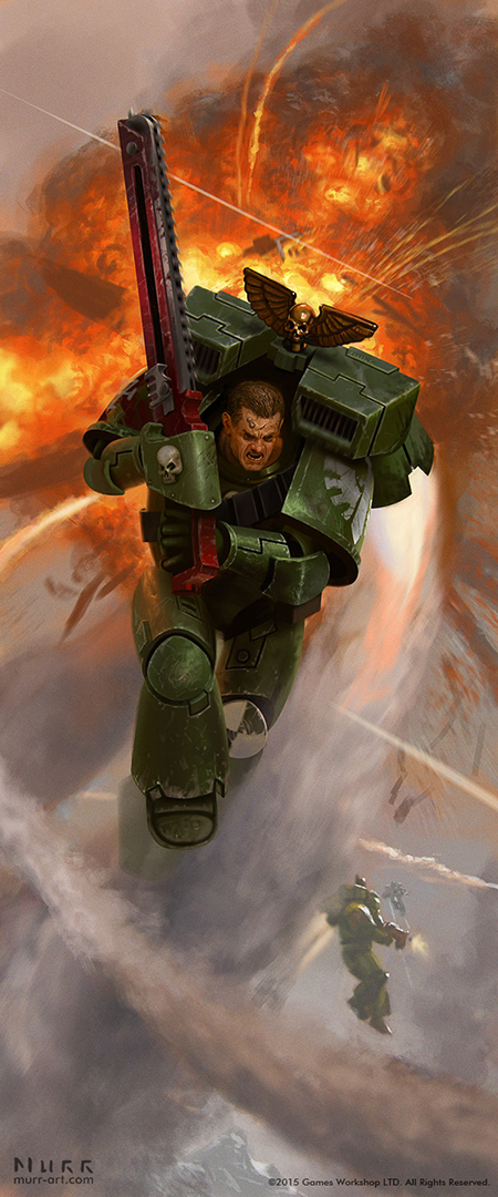 """Dark Angel Assault Marine"", Client: Games Workshop, 2015, digital"