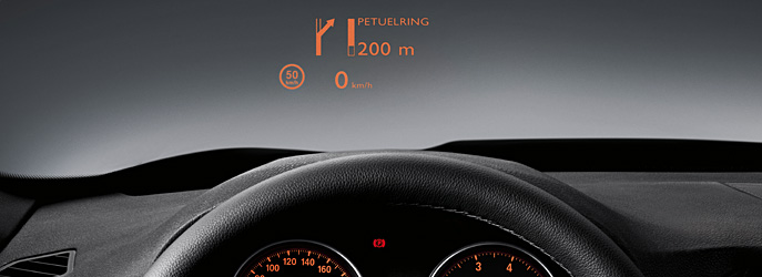 BMW Head-Up Display.     One second and 28 metres. That's the time required to take your eyes off the road and read 100 km/h on the speedometer. The BMW Head-Up Display from BMW ConnectedDrive projects the current speed or navigation instructions directly into your field of vision − letting you keep your eyes on the road.