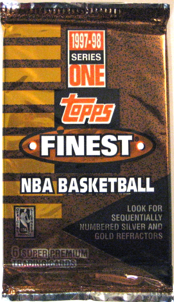 1997-98 Topps Finest Series 1 Basketball Pack: This set of cards continued on with Finest's winning designs. The pack design is a little dark for my taste, but makes good use of the metallic style cello pack.