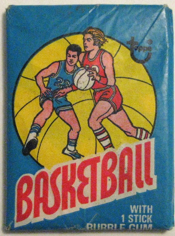 1975-76 Topps Basketball Pack  : This is a return to form in terms of style and design (although this pack is admittedly not the best specimen). Great use of colour. Key cards from this set include  Moses Malone's rookie  and a nice  Dr J card , although neither has tremendous value, and the design of the cards pales in comparison to the design of the pack itself.