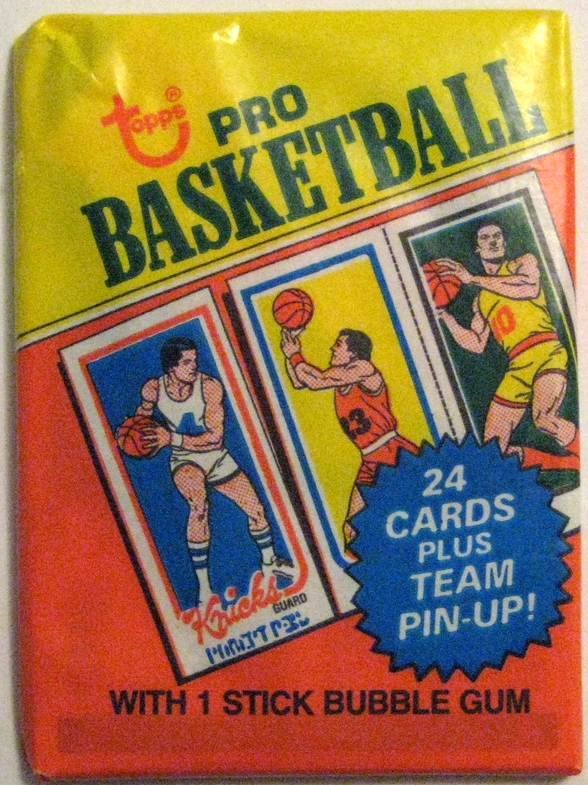1980-81 Topps Basketball Pack: This pack is maybe the pinnacle of this era of Topps packs. Beautiful design, incredible use of colours, and the set is helped tremendously by the fact that it contains both  Magic Johnson and Larry Bird's rookie card .