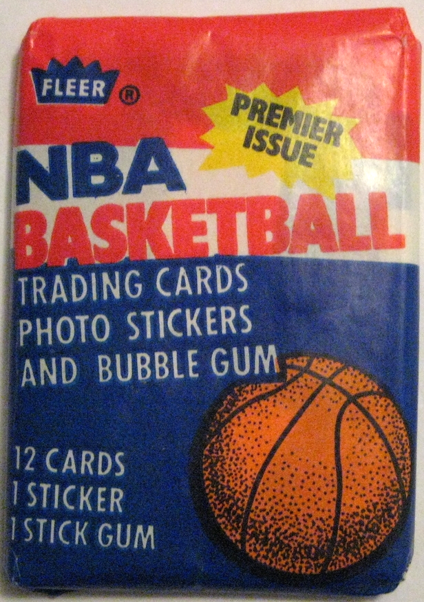 1986-87 Fleer Basketball Pack: For most, this is the pinnacle of basketball wax packs. It's got an incredibly eye-catching design, and contains a huge number of rookie cards, most notable Michael Jordan's. This is because no packs (apart from the nice packs done by Star Co.) were produced in the 4 years leading up to this pack. That's a lot of rookies to cram into 1 set! These packs are in high demand.