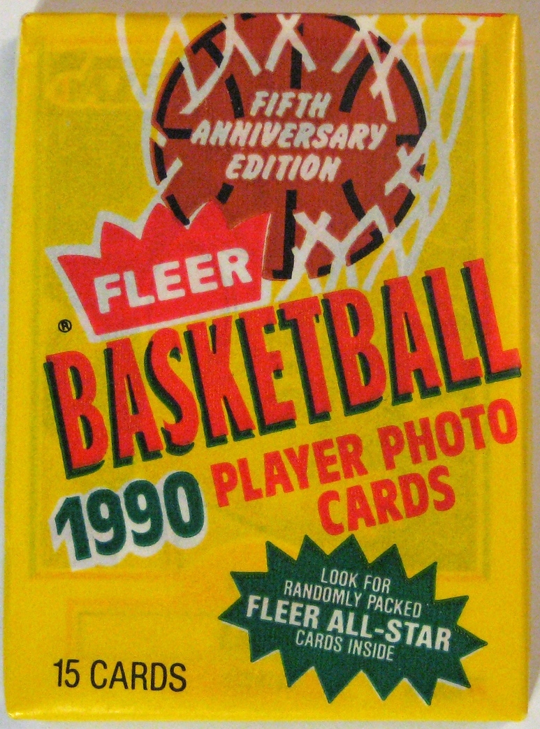 1990-91 Fleer Basketball Pack: This is one of the last wax packs produced. While the card set itself is not the most beautiful, it makes great use of colour, almost inverting the very stylish 87-88 pack.