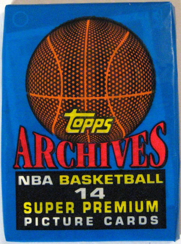 1992-93 Topps Basketball Pack: This is a bit of a throwback to the 1970s Topps pack. The series, although not especially valuable (like most early 90s series), is intriguing: it features reprints of active players' rookie cards in a new layout. A fun set to collect.
