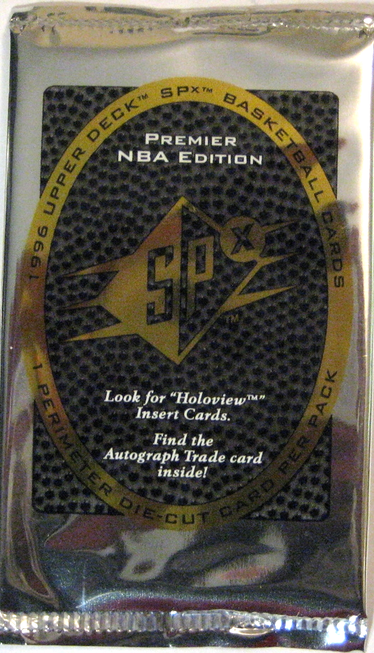 1996-97 Upper Deck SPX Basketball Pack: This pack has a great metallic look, and features just a single die-cut card. Not especially colourful, but a strong, beautiful design.