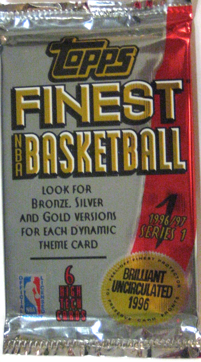 1996-97 Topps Finest Basketball Series 1 Pack: This is perhaps not the most beautiful pack, but it is a very important one. This series of cards ushered in a new era of card design, and this was an awesome draft class (Kobe, Nash, Ray Allen, Iverson, etc). This set features gold, silver, and bronze parallels, and refractors of each of those. It's a beautiful set, and the refractors can fetch a huge value.