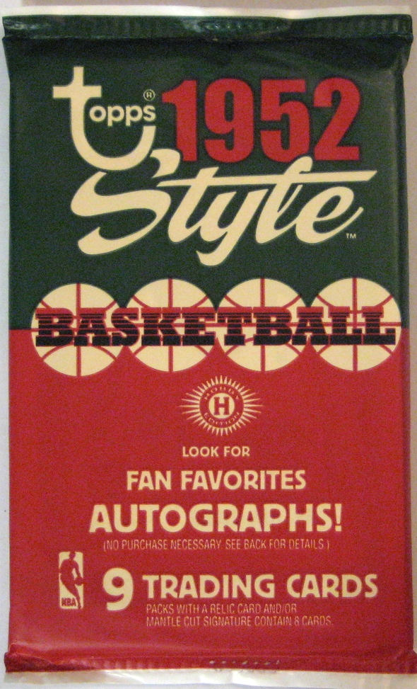 2005-06 Topps 1952 Style Basketball Pack  : This pack is stunningly beautiful, and is an homage to Topps' major (and gorgeous!) baseball series from 1952. Once again, this is a paper pack (not foil/plastic), and includes a retro card design as well.