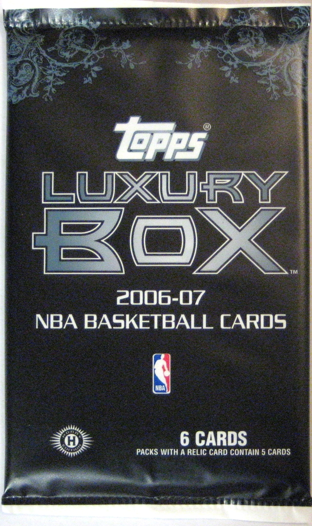2006-07 Topps Luxury Box Basketball Pack: This pack has a nice matte finish, and is a pretty high end pack (of the common ones) for this year. Despite a fairly limited use of colour, this pack is beautifully designed.