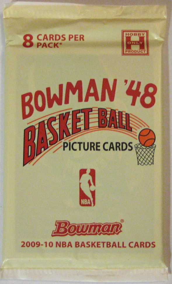 2009-10 Bowman '48 Basketball Pack: This pack is an homage to Bowman's 1948 basketball pack, which is the first nationally distributed basketball pack. It's a very clean retro design with interesting use of colour.