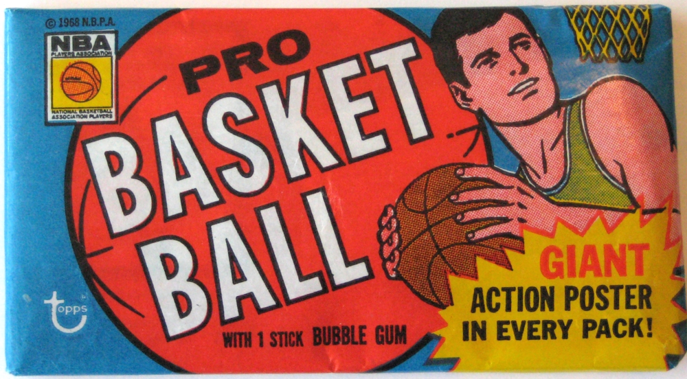 """1970-71 Topps Basketball Pack: Together with the 69-70 pack, this pack uniquely features a sideways orientation and """"tall"""" cards. It has a great use of colour and style, and set the table for a series of great Topps packs throughout the 70s."""