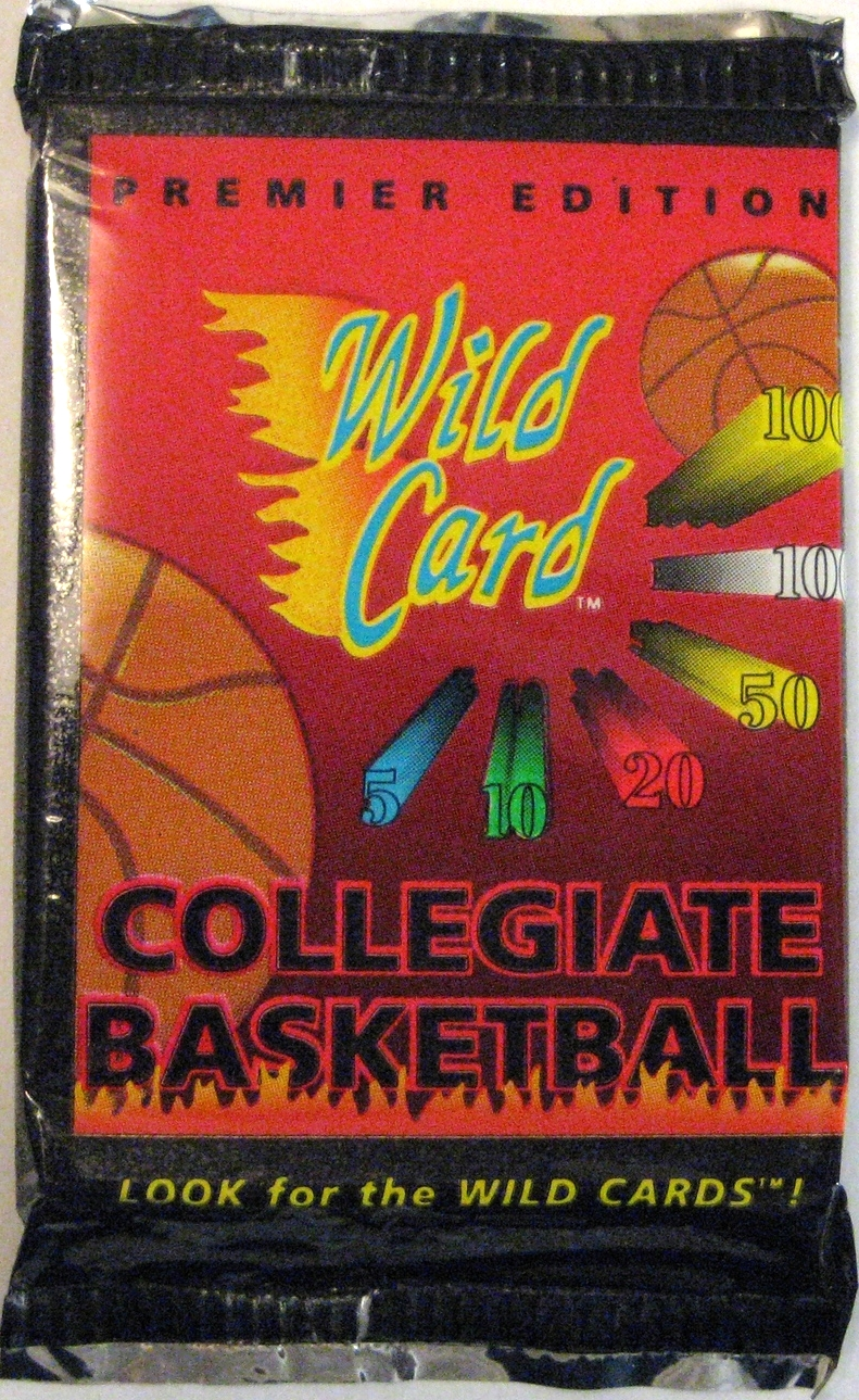 1991 Wild Card Collegiate Basketball Pack: This is an anomaly in my collection in that it is a pack of basketball cards. Kind of a fun design, and super cheap, so I thought I'd add it to the set.