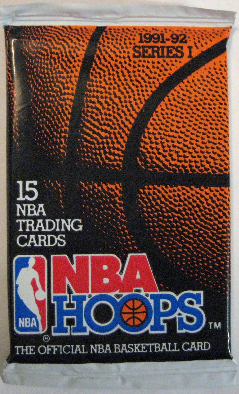 1991-92 Hoops Series 1 Basketball Pack: This pack is not the best, but it's dirt cheap and figured I should have a Hoops pack in the collection.