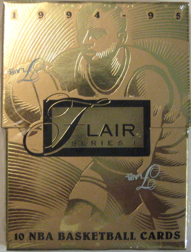 1994-95 Flair Series 1 Basketball Pack: This is a nice gold cardboard pack from Flair. Interestingly, this one has a top that slides on and off rather than they typical seal that packs usually have.