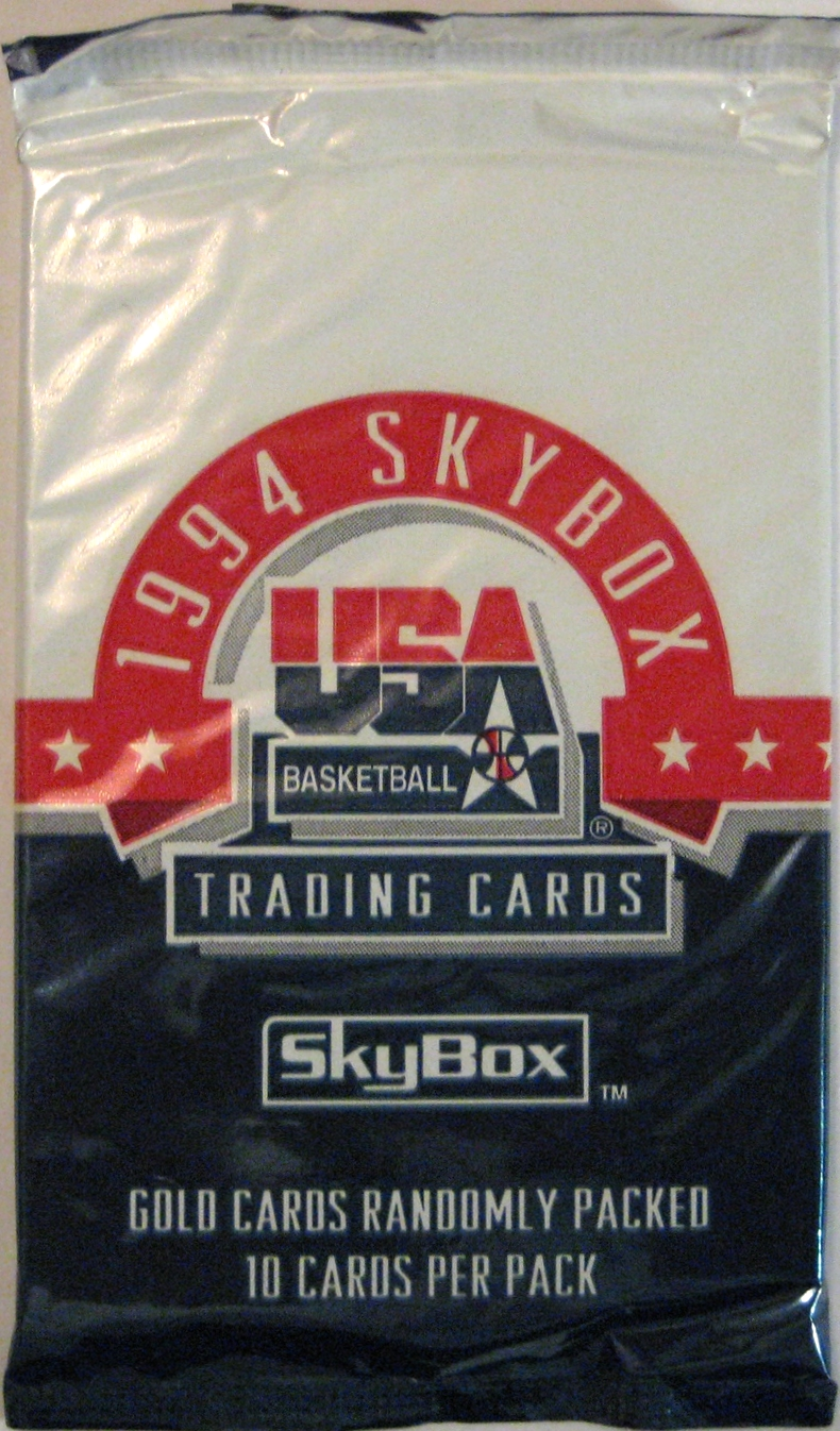 1994 Skybox USA Basketball Pack: This is an off-season pack from Skybox. The plastic used for the pack is an interesting style and has a unique look to it.