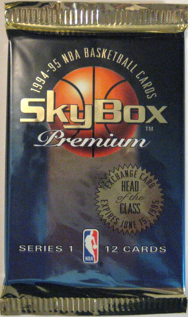 1994-95 Skybox Premium Series 1 Basketball Pack: For the 5th year in a row, Skybox comes up with a winning pack design. Clean, simple, and gorgeous.