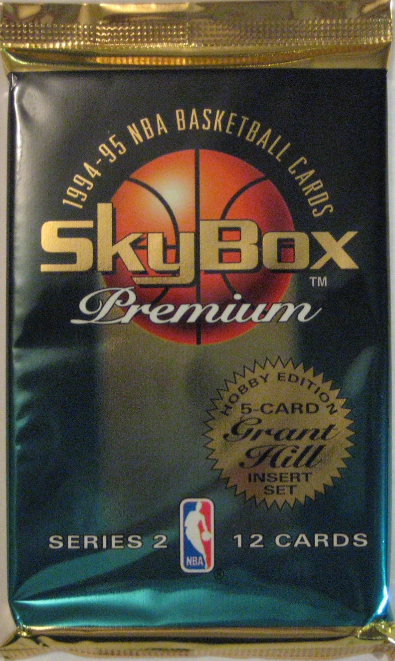 1994-95 Skybox Premium Series 2 Basketball Pack: This one is a little more green than the Series 1 pack, and is again a very nice design.