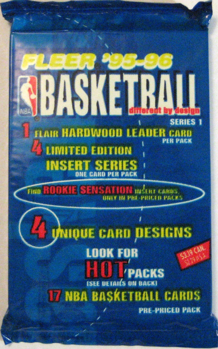 1995-96 Fleer Series 1 Basketball Pack: This has a bit too much writing for my taste, but the bold colours more than make up for that.