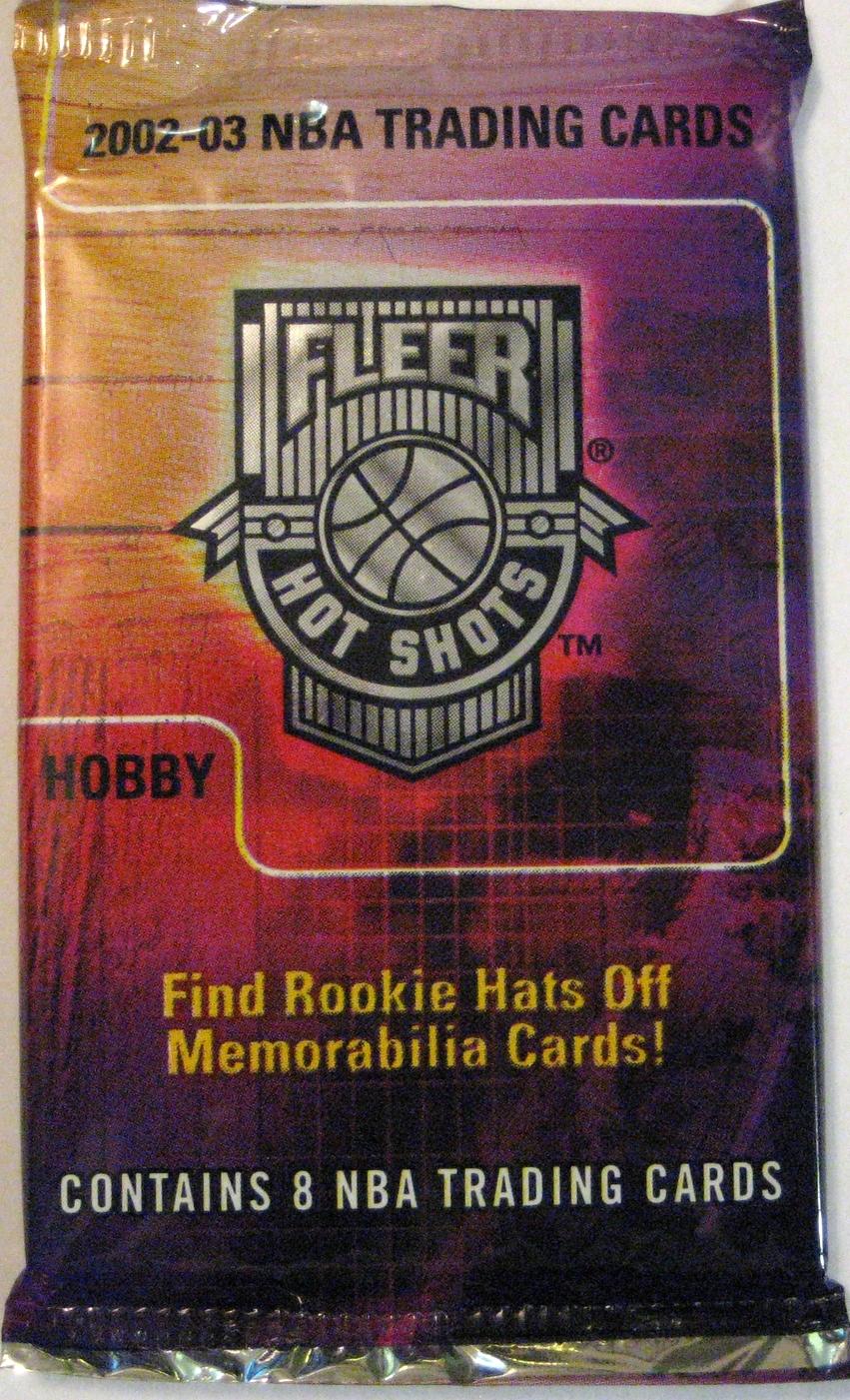 2002-03 Fleer Hot Shots Basketball Pack: A great rainbow-like colour scheme. Nice hobby pack.